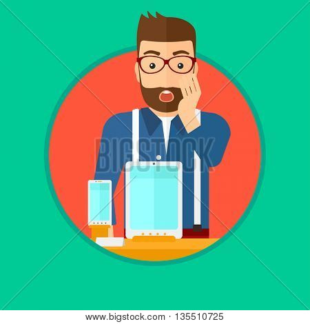 Astonished man looking at digital tablet and smartphone through the shop window. Man with open mouth looking at tablet and phone. Vector flat design illustration in the circle isolated on background.