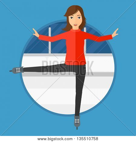Professional female figure skater performing on ice skating rink. Young ice skater dancing. Female figure skater on skates indoor. Vector flat design illustration in the circle isolated on background.