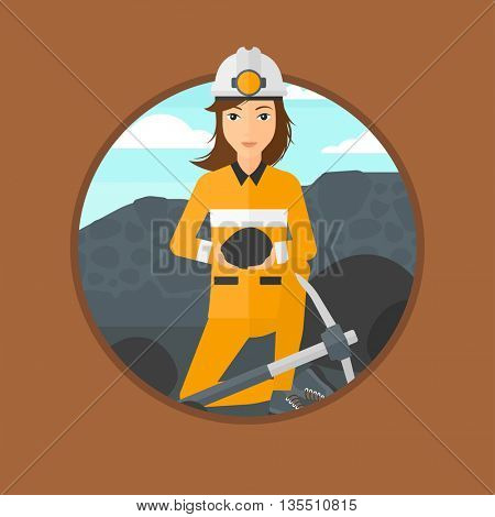 A female miner sitting with coal in the hands. Miner with a pickaxe at coal mine. Miner working at coal mine. Vector flat design illustration in the circle isolated on background.