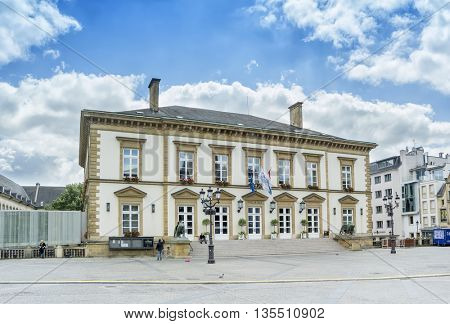 LUXEMBOURG, LUXEMBOURG - JUNE19, 2016:  Place Guillaume II in Luxembourg.