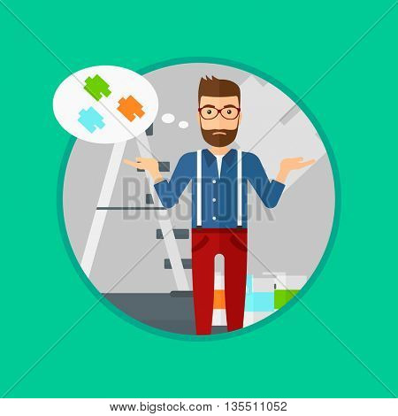A doubtful hipster man with the beard choosing color for walls in apartment. Man with spread arms choosing a color of paint. Vector flat design illustration in the circle isolated on background.