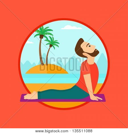 A hipster man practicing yoga upward dog pose. Man meditating in yoga upward dog position on the beach. Man doing yoga on nature. Vector flat design illustration in the circle isolated on background.