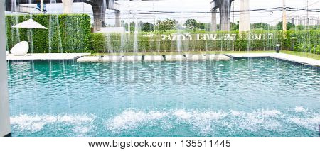 Luxury of swimming pool in clubhouse outdoor