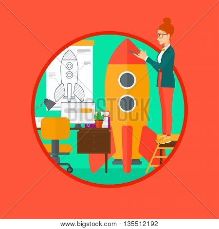 A woman standing on ladder and engeneering a rocket. Woman working on the startup of a new business. Business start up concept. Vector flat design illustration in the circle isolated on background.