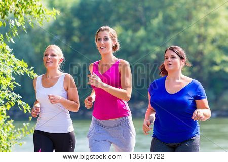 Group of women running at lakeside jogging