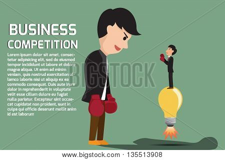 Businessman boxing against a giant business man between small business and Big business but small business using idea for battle . Business competition concept cartoon illustration.