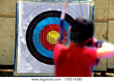 Shooting on a target during an archery competition
