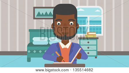 An african-american man sitting at the table and writing an article in writing-pad on the background of bedroom vector flat design illustration. Horizontal layout.