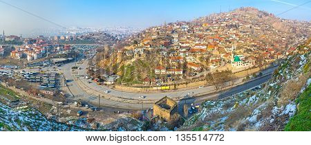 Panorama of Ankara with the old houses and slums of Ulus district and the tower ruins at the foot of Hisar Castle hill Turkey.