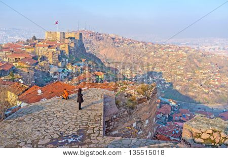 The viewpoint on the top of the tower overlooks the Castle Hill and adjacent city hills of Ankara Turkey.