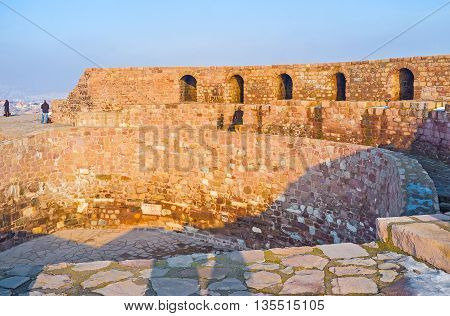 The stone citadel wall located on the top of the hill in the city center Ankara Turkey.