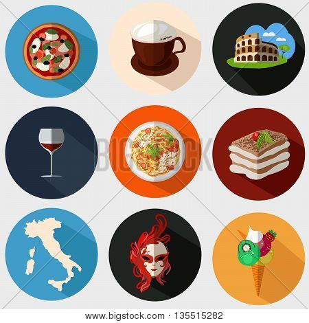 Collection of Italian icons in a flat style. Vector illustration. Icons with elements of pizzas pastas Coliseum coffee masks wine tiramisu maps of Italy.