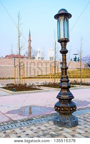 The scenic streetlight in the square in front of Haci Bayram architectural complex Ankara Turkey.