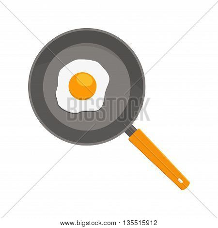 Fried egg on pan isolated white on background. Breakfast egg flat icon. Scrambled egg lunch plate appetizing morning cooked ingredient. Fresh fried egg on pan delicious cuisine dish