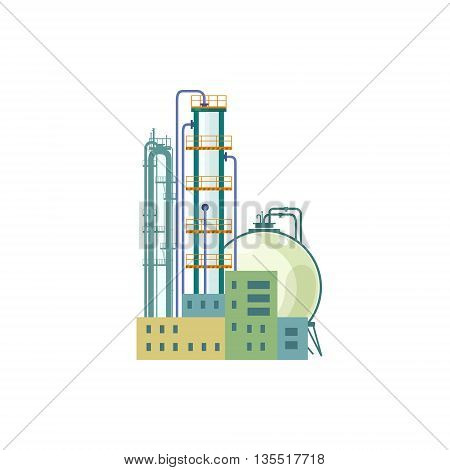 Industrial Chemical Plant Isolated on White Background , Refinery Processing of Natural Resources, Industrial Pipes and Tanks, Vector Illustration