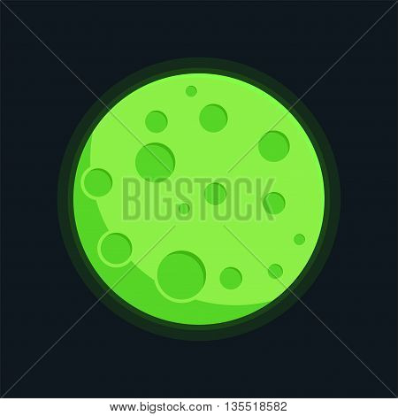Planet green vector. Globe planet crater texture map in flat style. Globe vector green planet cartoon view from space. Green planet solar system.