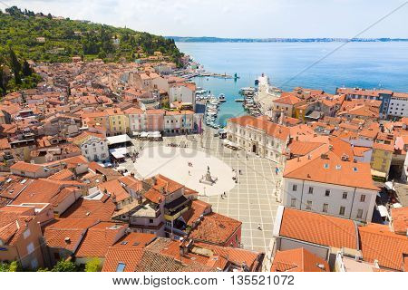 Picturesque old town Piran - beautiful Slovenian adriatic coast. Aerial view of Tartini Square. poster