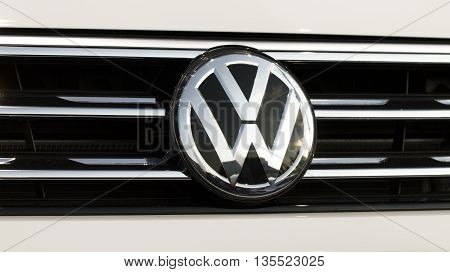 Tallinn Estonia - May 26th 2016: Close up of Volkswagen logo on a Tiguan Promotional Exhibition