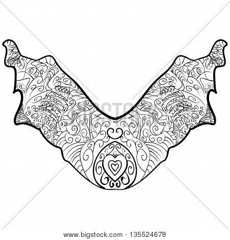 Neck print vector floral design. Fashion white lace collar. Vector illustration