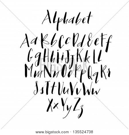 Collection of alphabet letters. Alphabet letters: lowercase uppercase. Letters of the alphabet written with a pen. Ink illustration. Hand drawn lettering background. Isolated on white background.