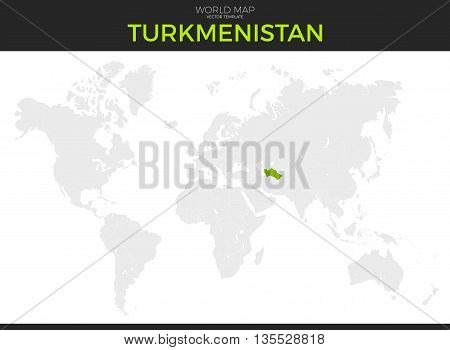 Turkmenistan location modern detailed vector map. All world countries without names. Vector template of beautiful flat grayscale map design with selected country and border location
