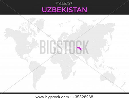 Republic of Uzbekistan location modern detailed vector map. All world countries without names. Vector template of beautiful flat grayscale map design with selected country and border location
