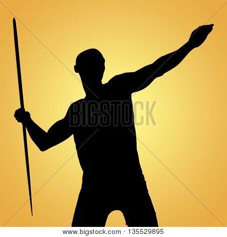 Sportsman practising the javelin throw against yellow vignette
