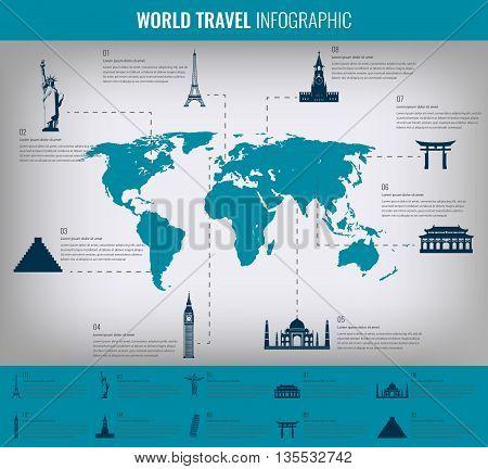Infographic World Landmarks On Map.  Vector