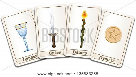Tarot cards - FRENCH NAMES of the symbols: cups, swords, wands, pentacles. Isolated vector illustration on white background.