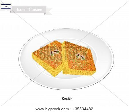 Israeli Cuisine Kunafa or Traditional Levantine Cheese Pastry Topping with Pistachio Powder and Syrup. One of The Most Popular Dessert in Israel. poster