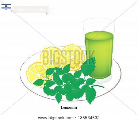 Israeli Cuisine Lemonana or Traditional Squeezed Lemonade and Spearmint Leaves. One of The Most Popular Drink in Israeli.