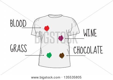 Dirty T-shirt. Different types of stains. Blood grass wine chocolate.