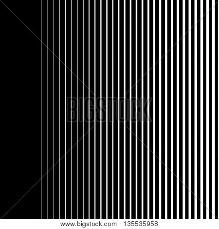 Gradient lines seamless background vector pattern, vertical black stripes, parallel white lines from thick to thin