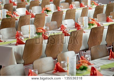 chairs prepared and arranged wedding. a beautiful picture that awaits anyone