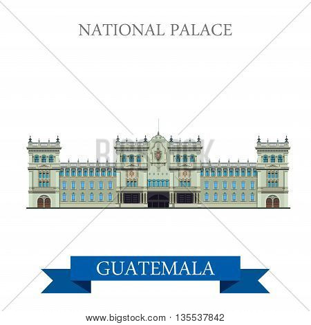 National Palace of Culture in Guatemal vector illustration