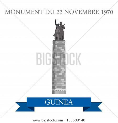 Monument Du 22 Novembre 1970 Conakry in Guinea flat vector