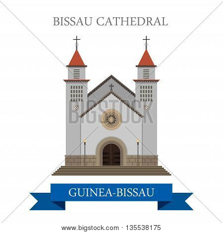 Bissau Cathedral in Guinea-Bissau flat vector illustration