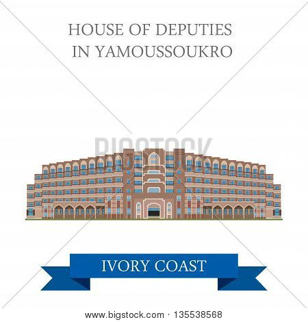 House of Deputies in Yamoussoukro Ivory Coast flat illustration
