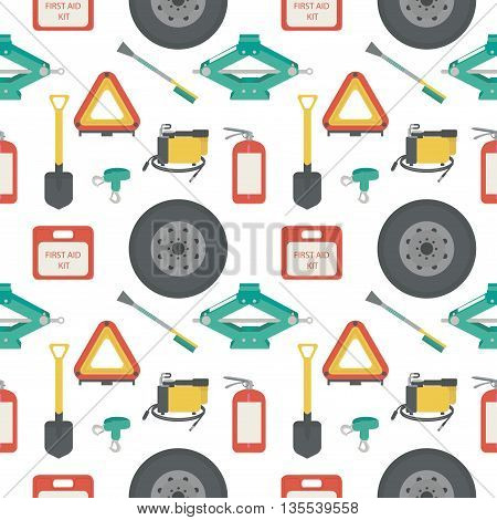 Seamless pattern with lift jack, tow rope, first aid kit, fire extinguisher, spare wheel, shovel, brush and scraper, warning triangle, car air compressor. Vector illustration.