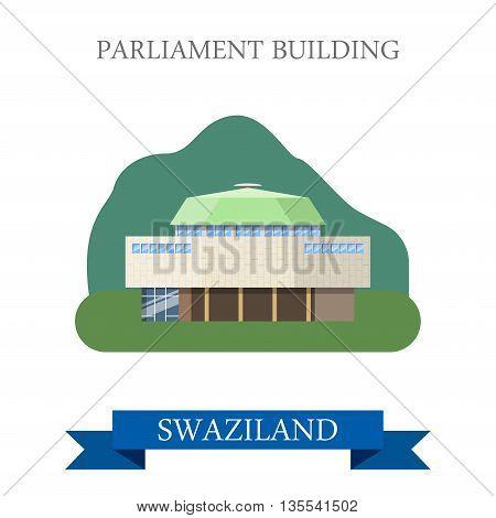 Parliament Building in Swaziland Flat web vector illustration