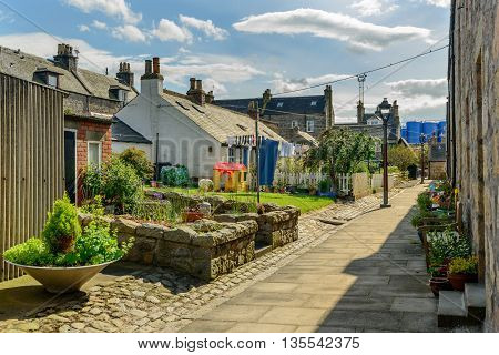 Sunny garden space in the small village of Footdee (aka Fittie). A nineteenth century fishing village close to entrance of Aberdeen harbour.