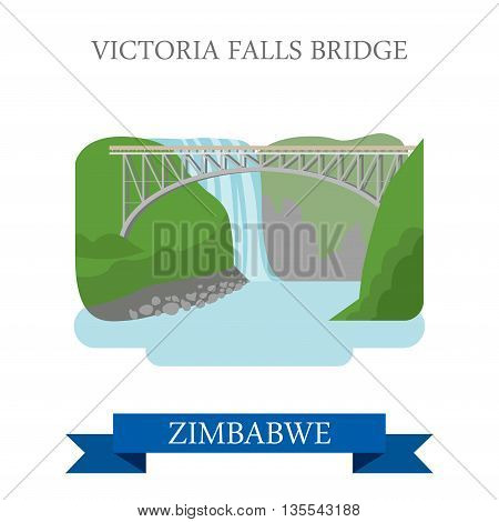 Victoria Falls Bridge Zimbabwe Flat historic vector illustration