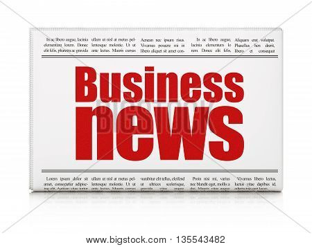 News concept: newspaper headline Business News on White background, 3D rendering poster