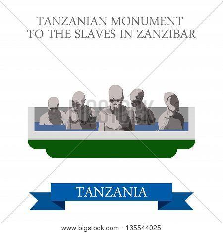 Tanzania Monument Slaves Zanzibar. Flat travel vector historic