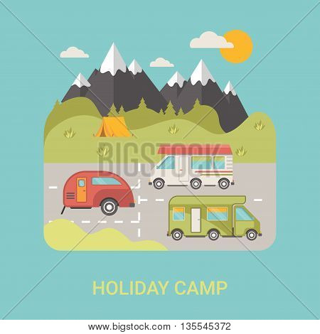 Bus Camp station vector flat style illustration logo flyer