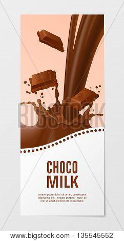 Milk 3d vector illustration. Business choco splash background.