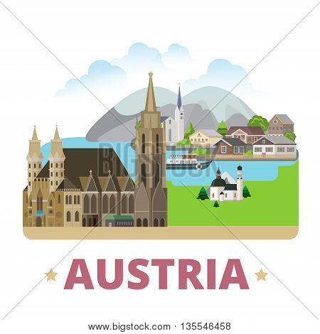 Austria country badge fridge magnet design Flat style vector