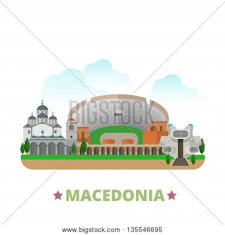Macedonia country design template. Flat cartoon style historic sight showplace web site vector illustration. World travel Europe European collection. Ancient Dion Old Stone Bridge St Clemente Church. poster