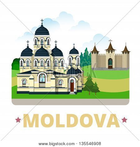 Moldova country design template Flat cartoon style web vector