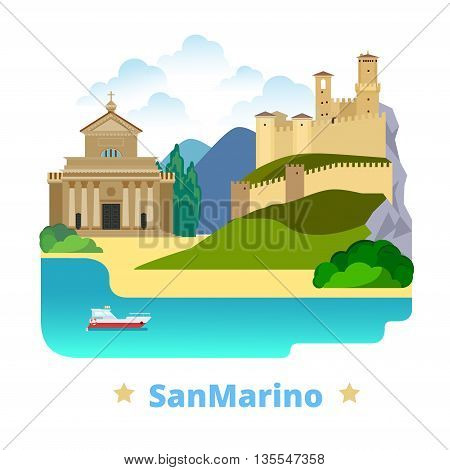 San Marino country design template Flat cartoon style web vector